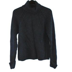 Jeanne Pierre Turtleneck Sweater Navy Blue Cuff
